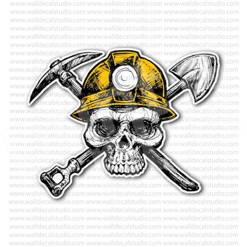 From 4 00 Buy Coal Miner Crosstools Skull Inside At Print Plus In Stickers Skulls At Print Plus Coal Miners Skull Sticker Coal Mining