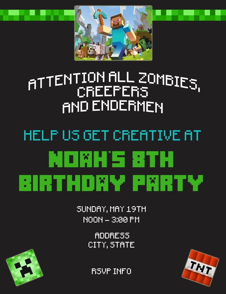 Free Printable Minecraft Invitations  Minecraft Party Invitations