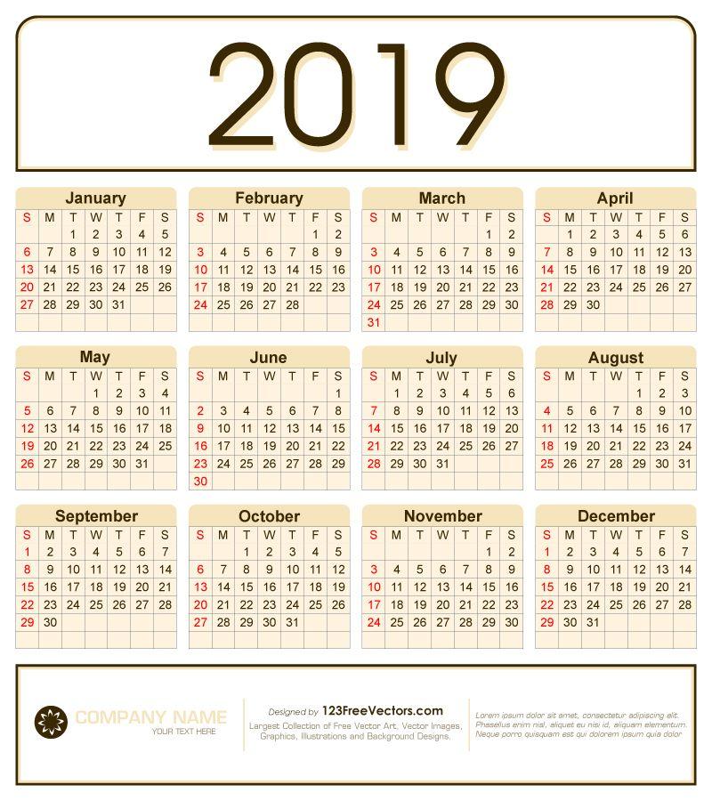Calendar 2019 Design Vector Calendar 2019 Design Calendar