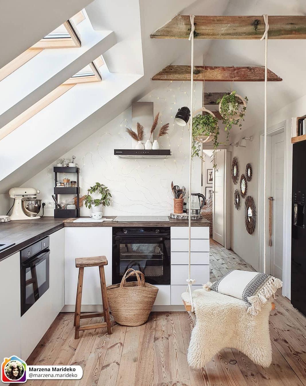 50 Cool Attic Kitchen Design Ideas In 2020 Small Apartment Decorating Home House Interior