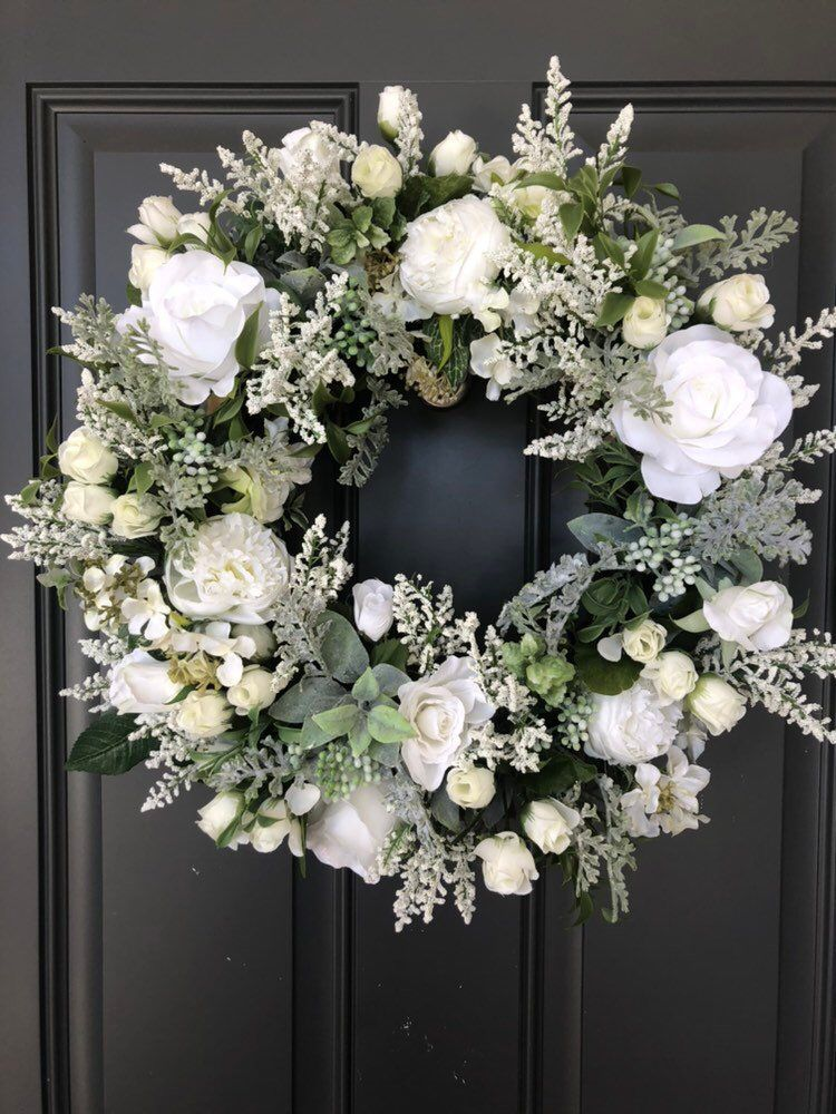 Excited To Share This Item From My Etsy Shop Elegant White Roses Grapevine Wreath White Christmas Wreath White Wreath Wreath Decor
