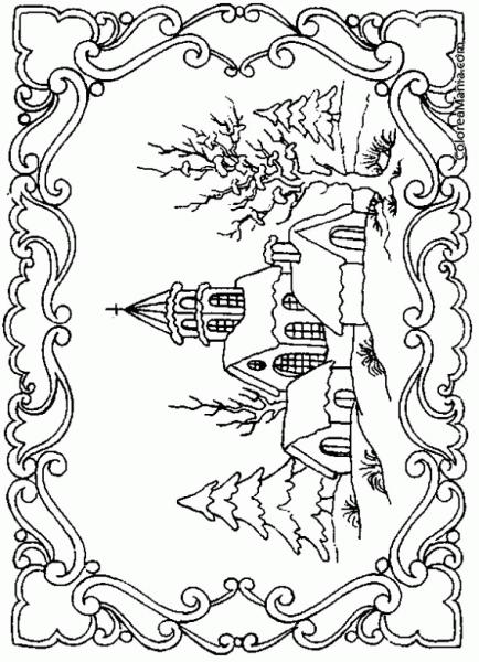 Paisaje De Invierno Para Colorear Paisajes De Invierno Dibujos De Invierno Arbol De Otono Dibujo