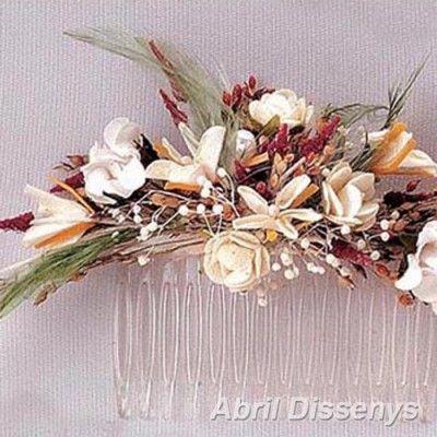Peineta con Flores Secas y Plumas Bricolaje y manualidades - flores secas