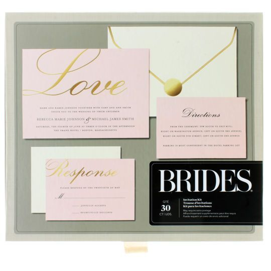Superieur Brides® Gold Foil Love On Blush Invitation Kit