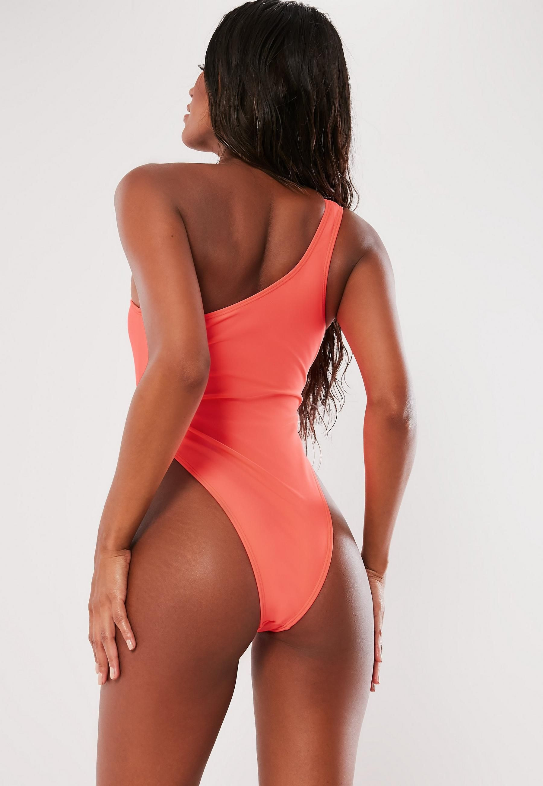 110d446f5742e1 Missguided Neon Peach One Shoulder Cut Out Swimsuit | Beachy