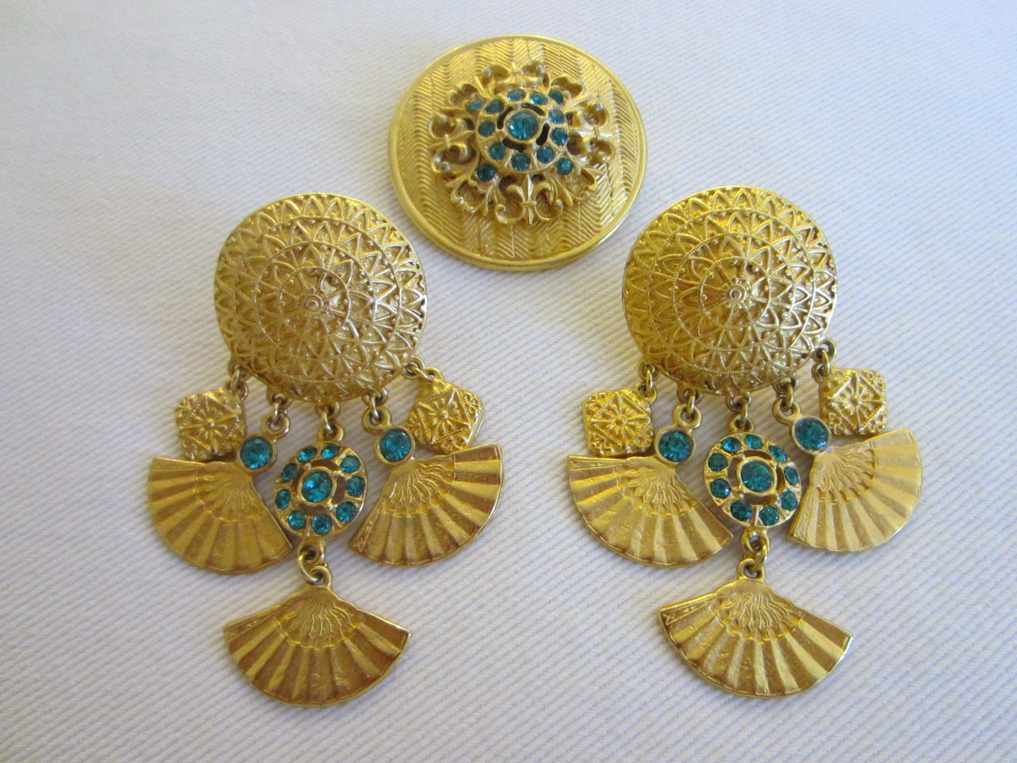 Brass Brooch Earrings Collection Eastern Inspire Charm Drops Blue Crystal