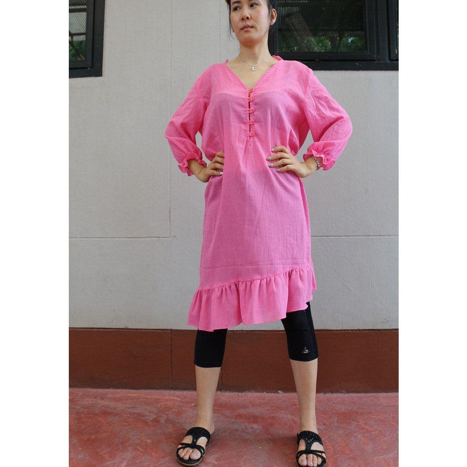 Deep pink soft cotton oversized womenus vneck buttons long sleeve