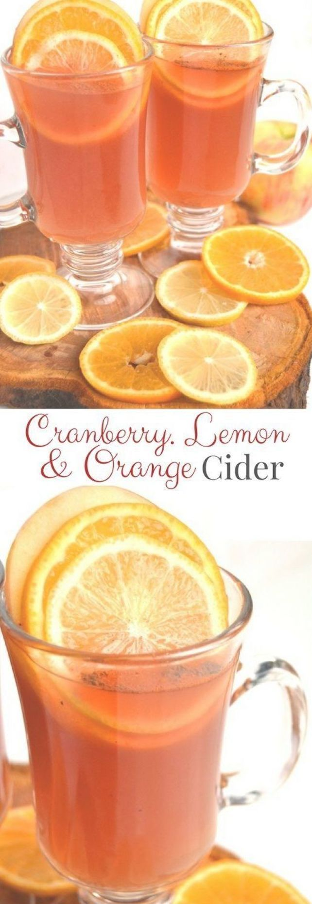 Cranberry, Lemon and Orange Cider is the perfect non-alcoholic beverage for the holidays that is best served hot but is delicious cold as well! A mix of cranberry, lemon and orange juice with cinnamon and fresh fruit. #thanksgivingdrinksalcohol