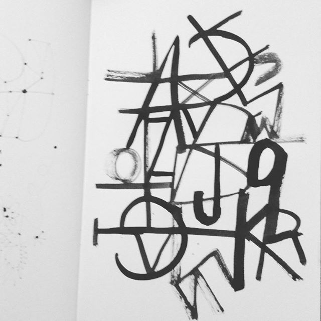 Abc #creativeleap #asemicwriting #ink #brush #lettering #gabriellabuckingham #blackandwhite