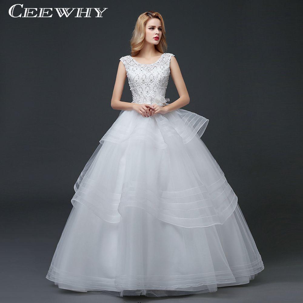 White Embroidery Organza Tulle Ruffles Wedding Dresses Women White ...