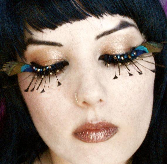 Isis Exotic Peacock Feather Eyelashes W By Moonshinebaby On Etsy