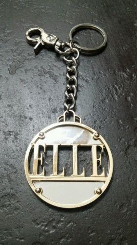 Vintage-ELLE-Fashion-LARGE-Magazine-Gold-amp-Silver-Tone-Keychain-Keyring-Fob
