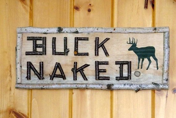 Buck Sign Rustic Bath Decor Deer Hunting Birch Twig Lettering And Border Bathroom Outhouse Camp Cabin