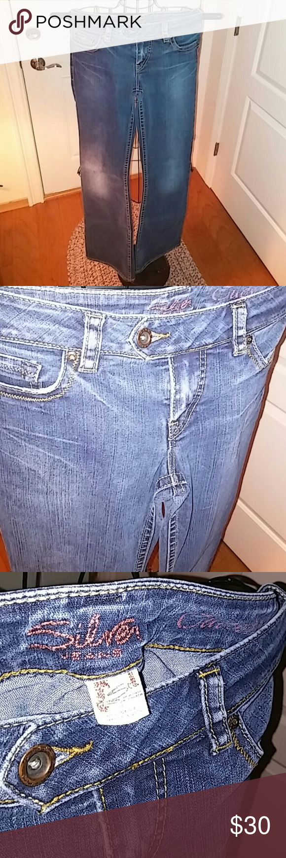 Silver Tuesdays 29x33 Excellent condition Run small in my opinion maybe because the Canada sizing? Silver Jeans Jeans Flare & Wide Leg
