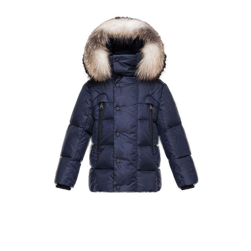 Kids Moncler Navy Reginald Fur Trim Padded Parka   Discounts→Down ... 9ba43215b5a