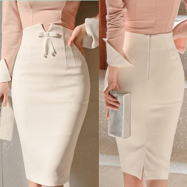 Women Fashion High Waist Bowtie Skirt Autumn Office Lady Elegant Pencil Skirt Pure Color Slim Mid Skirts