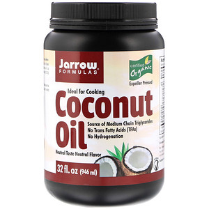 Jarrow Formulas زيت جوز الهند العضوي معصور بالطغط طريقة تقليدية ودون مذوبات 32 أونصة 946 مل Organic Extra Virgin Coconut Oil Organic Coconut Coconut Oil