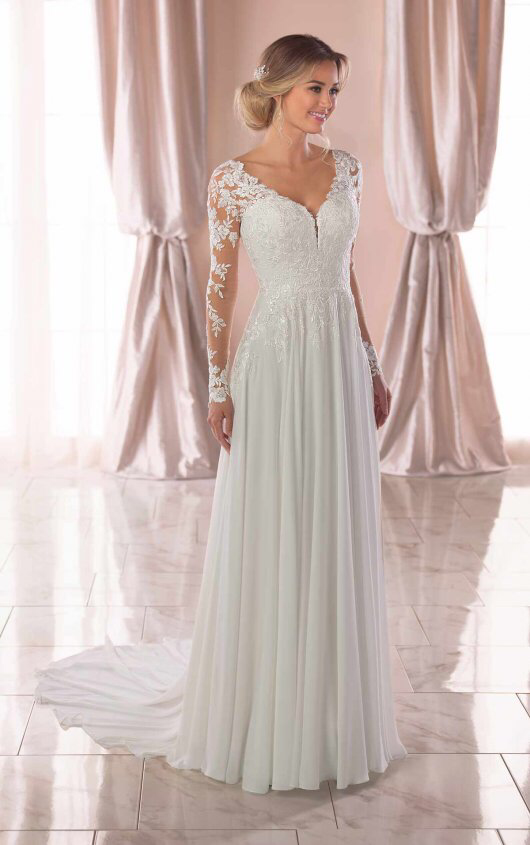 Illusion Long Sleeve V-neckline Sheath Wedding Dress With Beading | Kleinfeld Bridal