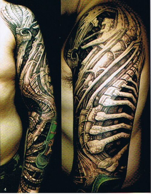 Bio mechanical tattoo sleeve
