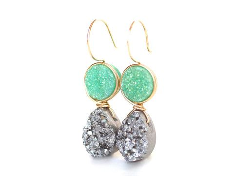 Emerald Green and Platinum Silver Druzy Dangle Earrings- Limited Editi | Wrenn Jewelry