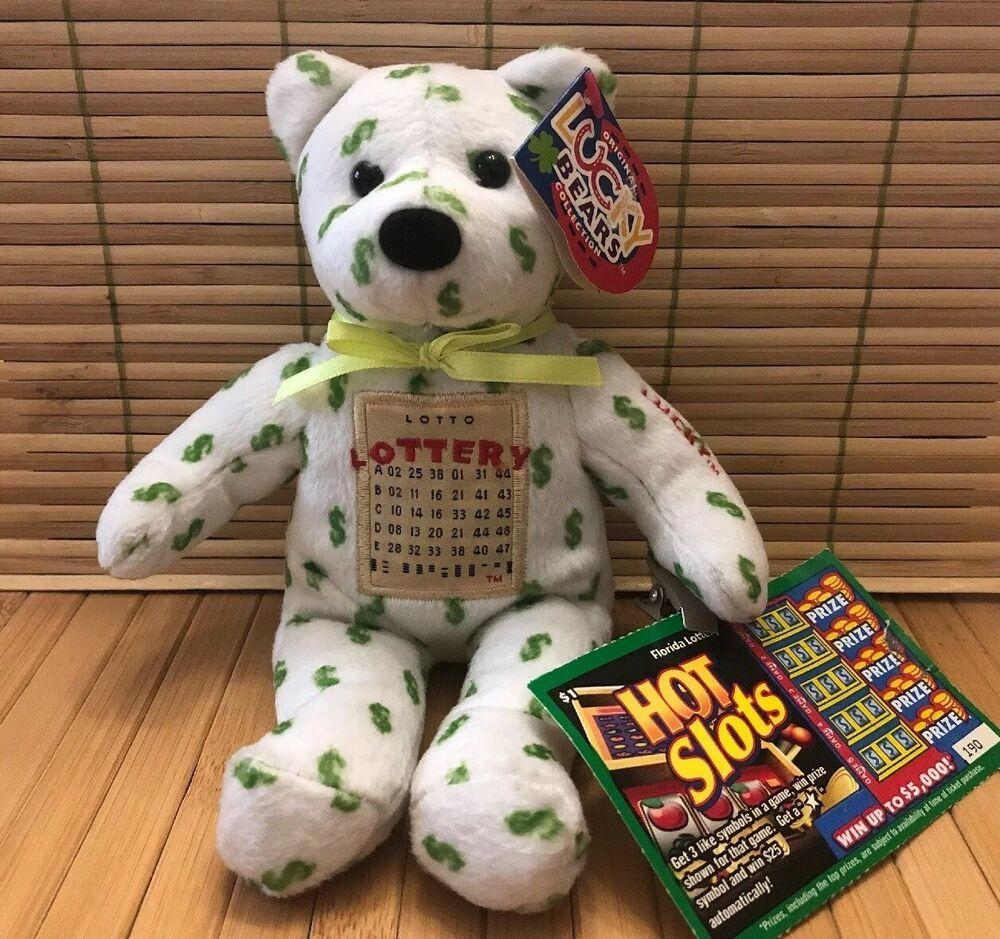 Lucky Lottery Bear Beanie Powerball Mega Millions Lucky Bears Lotto 1999 Ebay Lotto Powerball Lotto Lottery