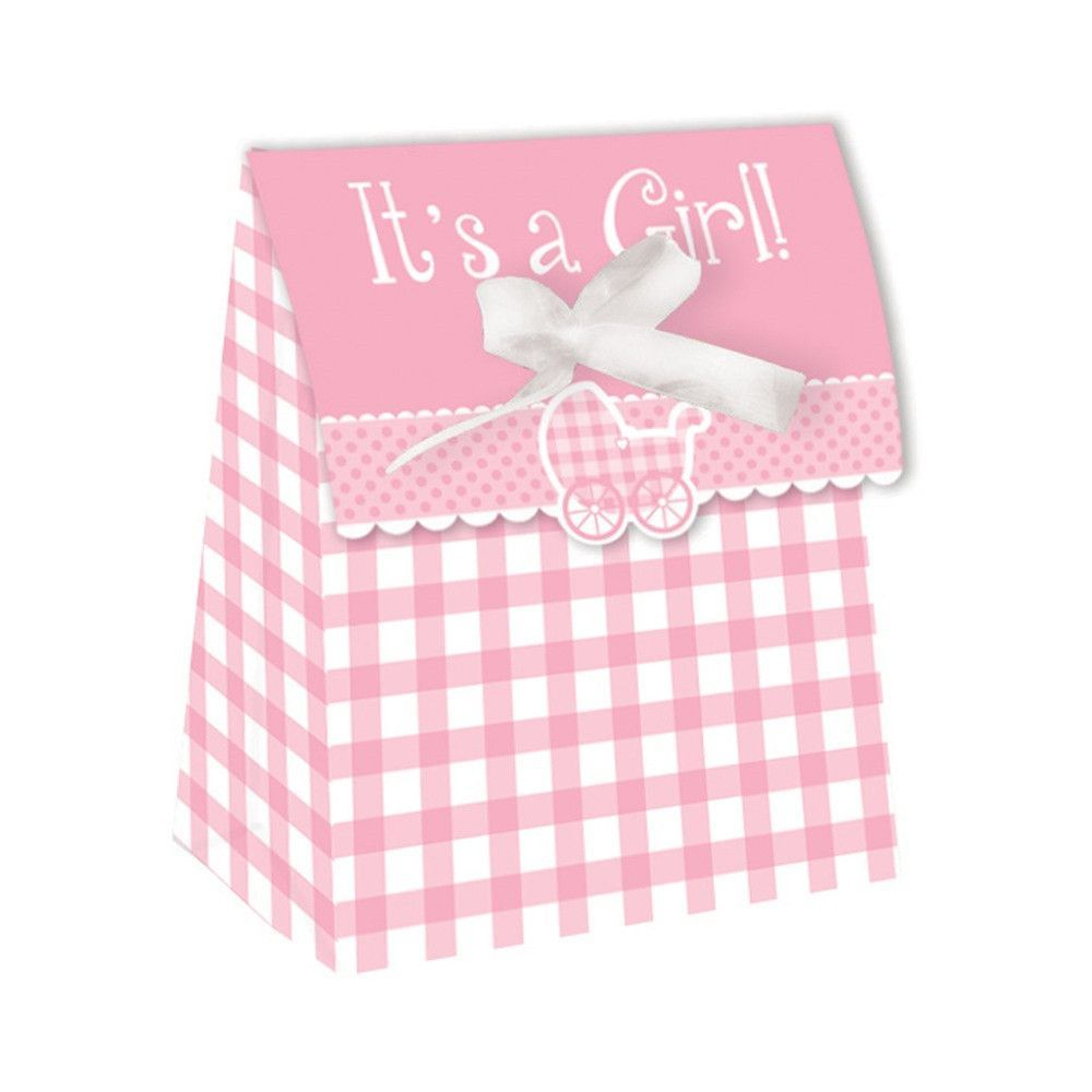 Gingham Girl Plastic Favor Bags Diecut with Ribbon/Case of 72