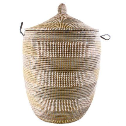 Woven African Laundry Clothes Hamper Grey Yellow Large