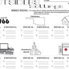 OUTSIDERS Setting Graphic Organizer - Physical  Emotional (by S.E. Hinton)  Middleschoolers will subconsciously enjoy the design of this one-p...