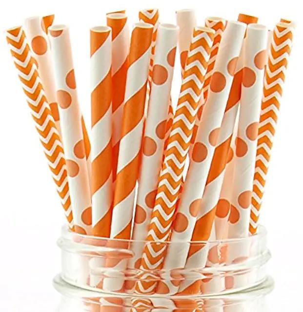Straws Orange Party Supplies Paper Party Supplies Paper Straws Orange Paper Straw Orange Paper Straws Striped Paper Straws