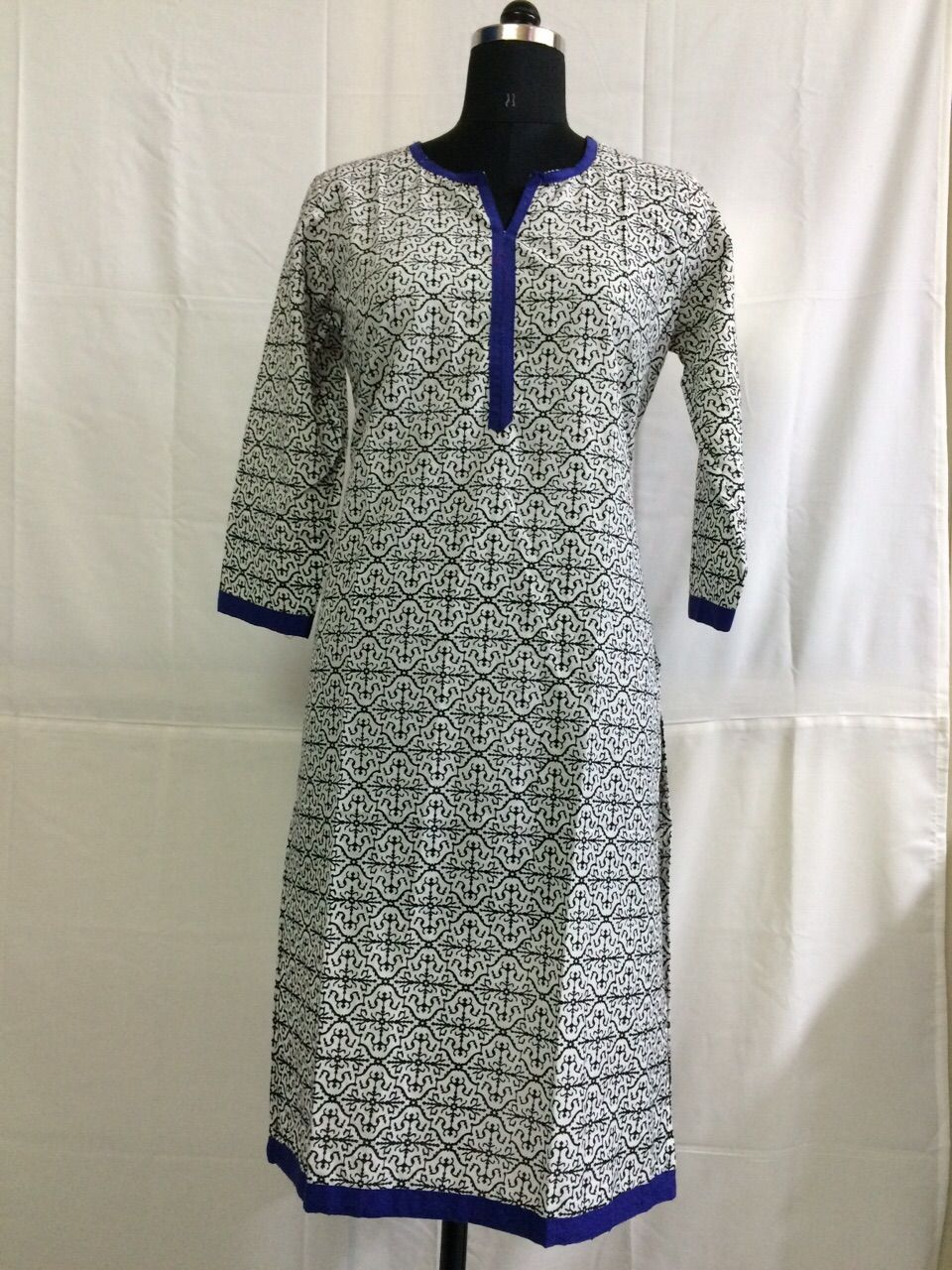 ae83c3aeff81 Black color and Blue piping cotton kurti Buy Shop