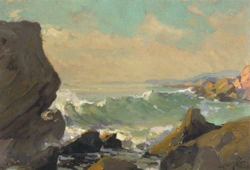 Waves-On-A-Rocky-Coast-California by Franz Bischoff