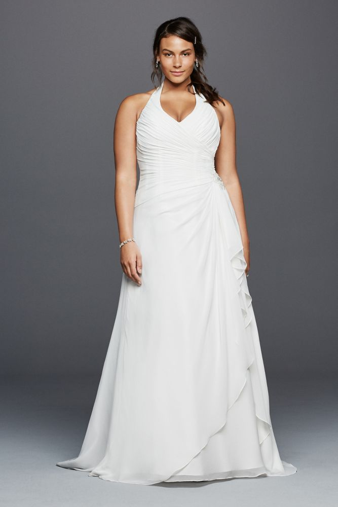 Halter Crinkle Chiffon Plus Size Wedding Dress Soft