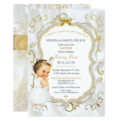 vintage baby girl baptism gold cross glitter invitation baptism