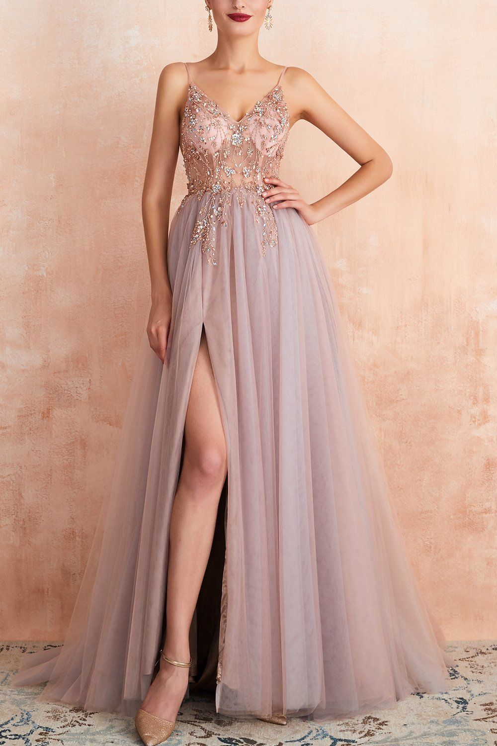 Photo of Spaghetti Straps Slit Tulle Prom Dress – Pink / US4