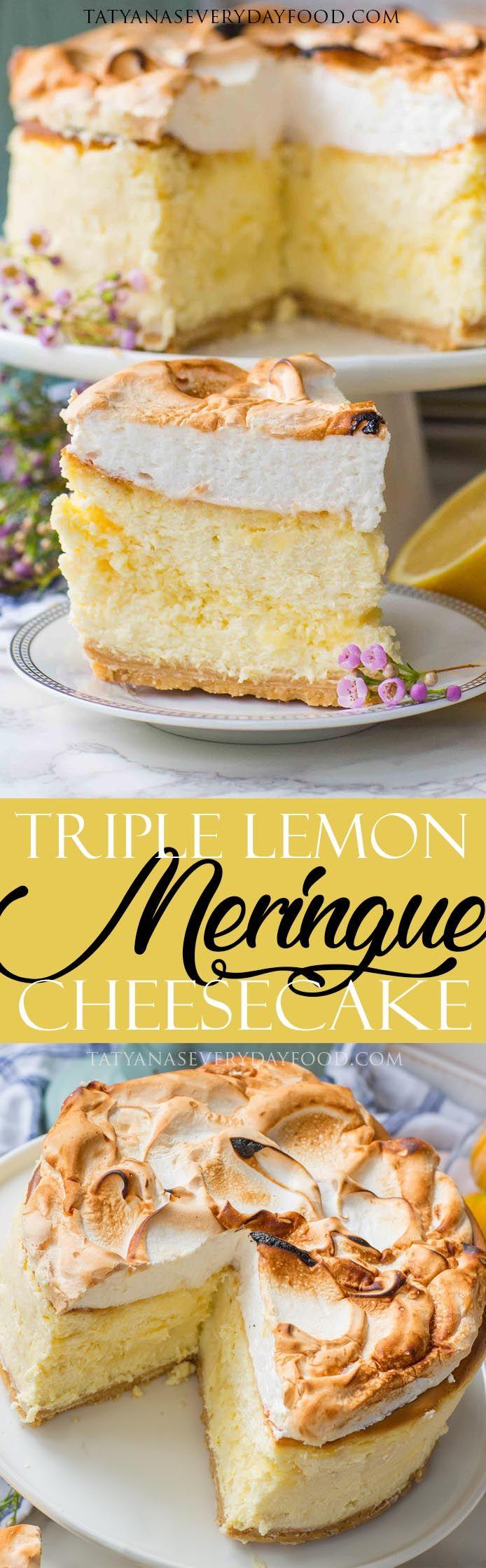Triple Lemon Meringue Cheesecake (video) #lemonmeringuecheesecake