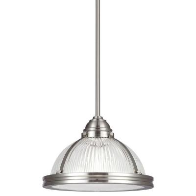 Sea Gull Lighting Pratt Street Prismatic 11 In W 1 Light Brushed Nickel Pendant 65060 962 The Home Depot Sea Gull Lighting Pendant Light Favorite Lighting