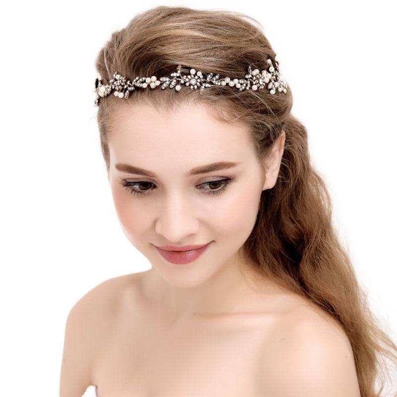 Flower Pearl Headdress Hair Band Accessory For Women Wedding Bride Bridesmaid