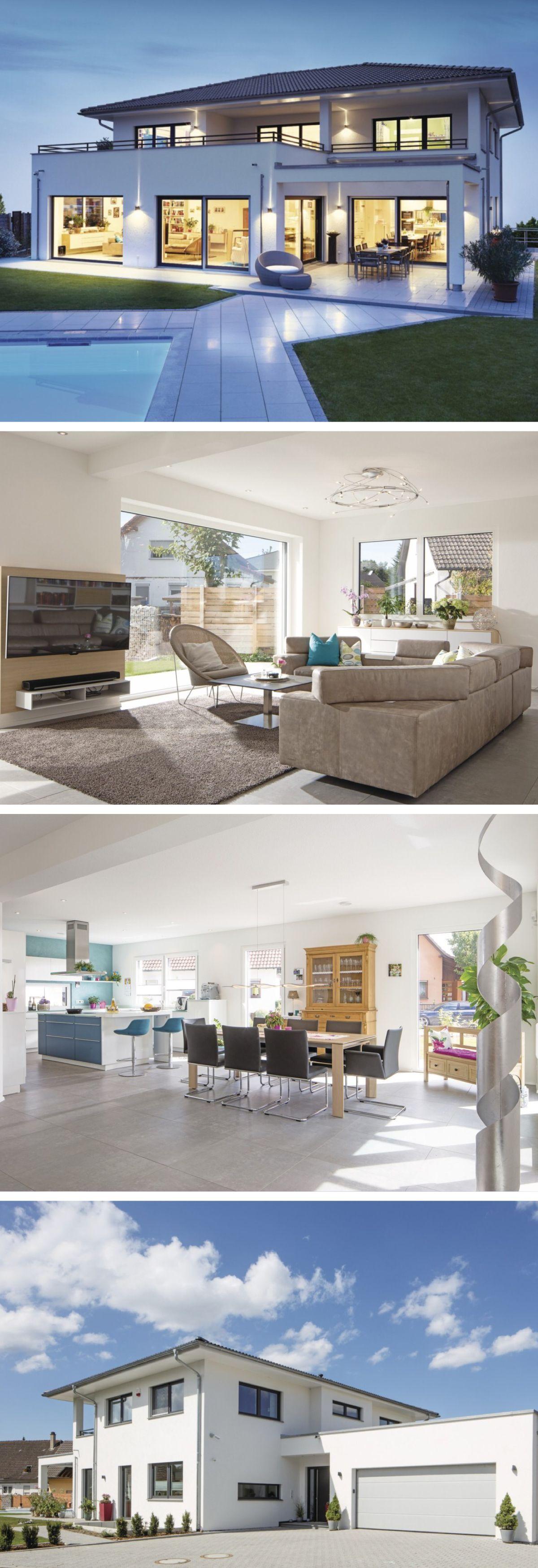 The White House Fertighaus modernes design haus mit pool und garage weberhaus stadtvilla als