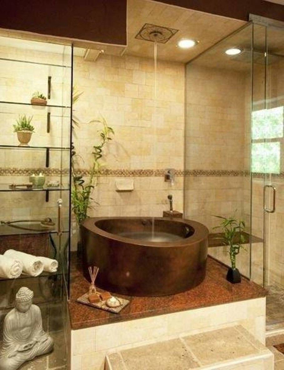 Bathroom Fancy Interior Zen Bathrooms With Tempered Glass Rack For Towel Also Toiletries Bes Zen Bathroom Decor Japanese Bathroom Design Japanese Soaking Tubs