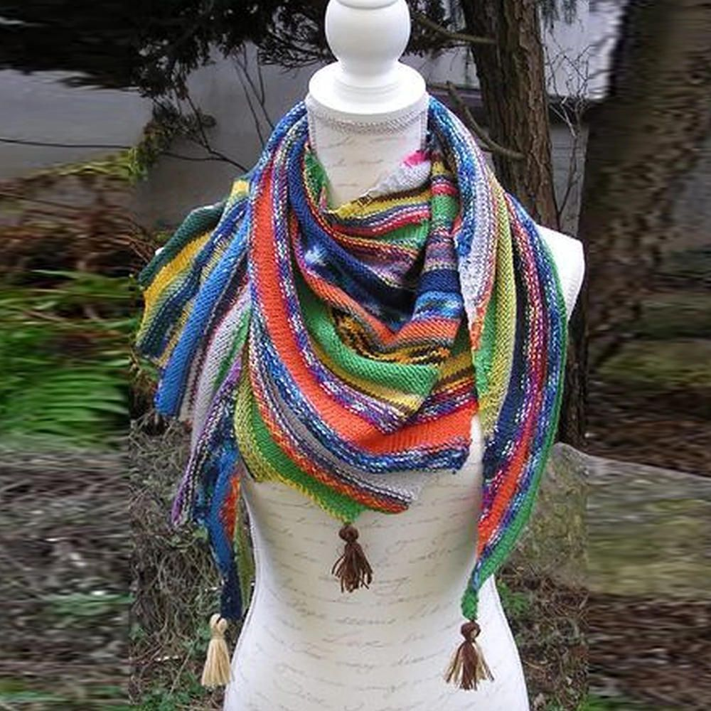 Casual Color Block Knitted Scarves & Shawls | Knit scarf ...