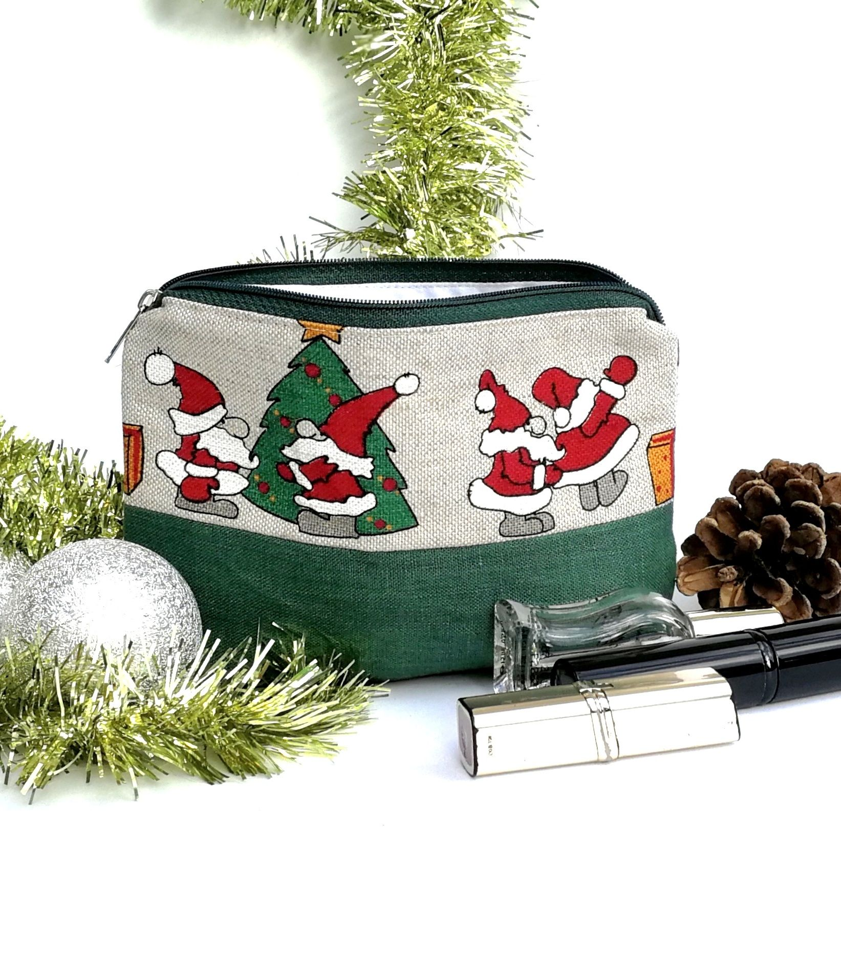 75d6afe31868 Green Mini Linen Cosmetic Bag - Small Christmas Zippered Pen Pouch ...