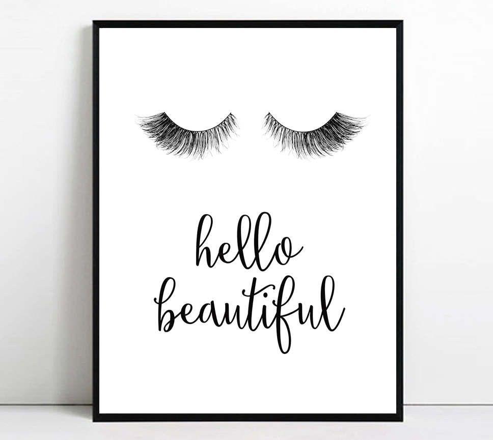Printable Room Decor Eyelashes Print Eyelash Printable Art Hello Beautiful Wall Art