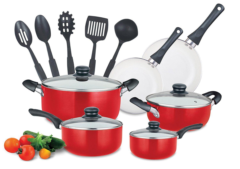 kitchenaid pots and pans set red