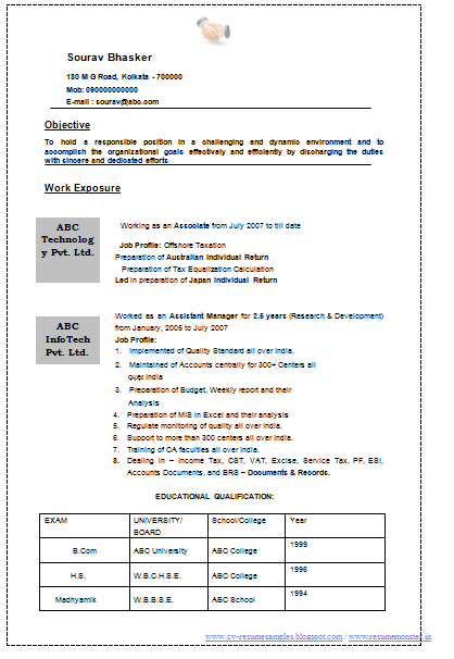 Resume Format Of A Chartered Accountant 1 Career Pinterest