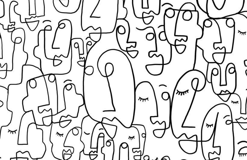 Large Face Line Drawing Wallpaper Mural Murals Wallpaper Face Line Drawing Face Lines Drawing Wallpaper