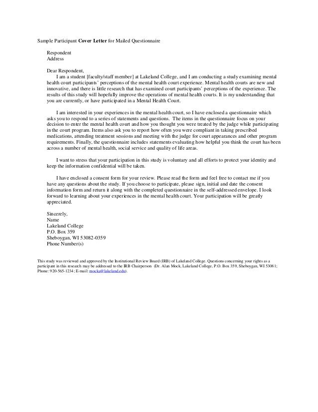 Sample Participant Cover Letter For Mailed Questionnaire