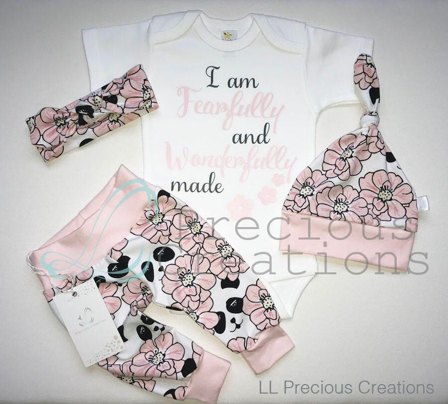 b28714daabb Organic Newborn Girl Outfit Baby Girl Coming Home Outfit I am Fearfully and Wonderfully  Made Floral