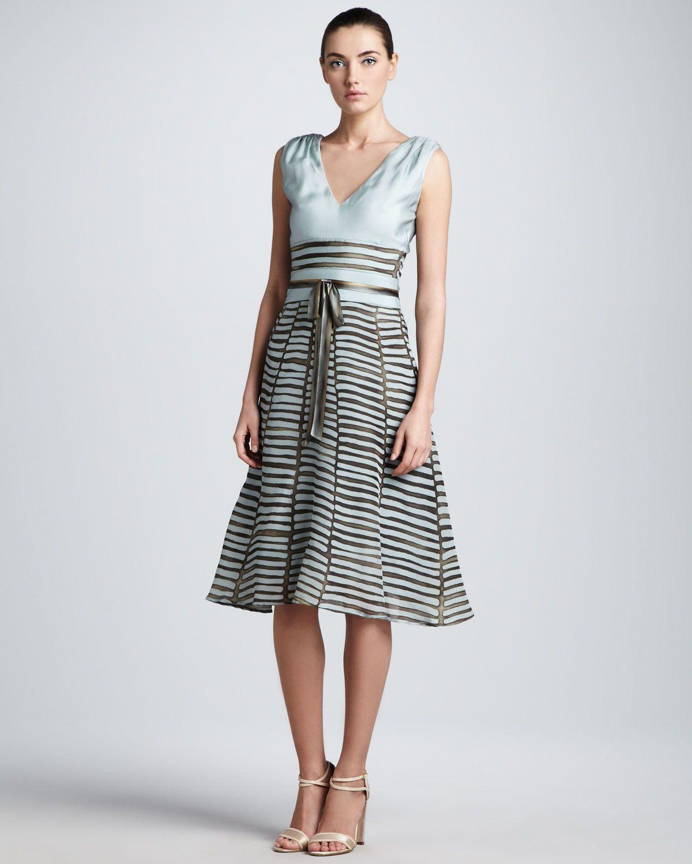 Carolina herrera printed fullskirt combo dress womenspin