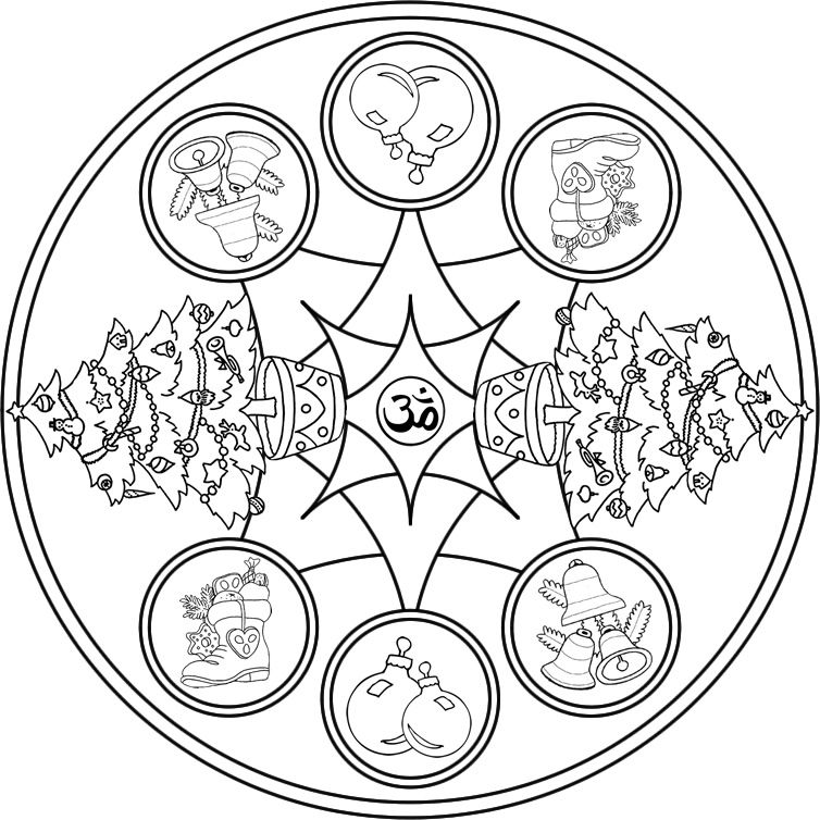 Mandala Navideño 3 Mandala para pintar con motivos navideños