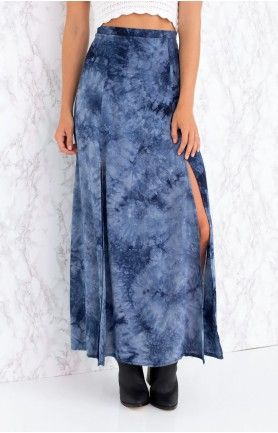Carefree Maxi Skirt Navy Tie Dye